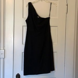 Banana Republic Ruched One Shoulder Black Dress